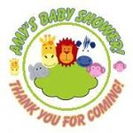 Personalised Jungle Animals Baby Shower Party Stickers
